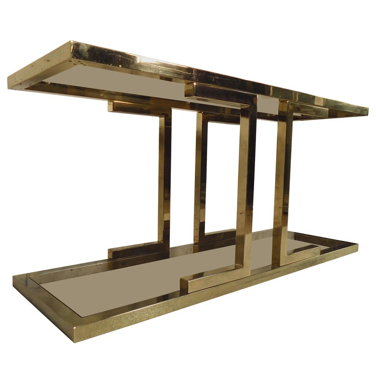 Mid-Century Brass Color Console Table