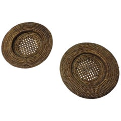 Pair of Vintage Rattan Woven Wine Bottle Coasters