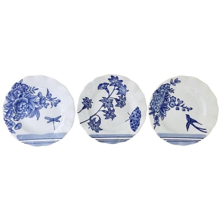 Vintage Ceramic Blue & White Salad/Dessert Plates S/9 by, Creativeco-Op For Sale