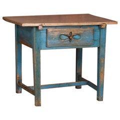 Antique Swedish Country Side Table with Original Blue Paint