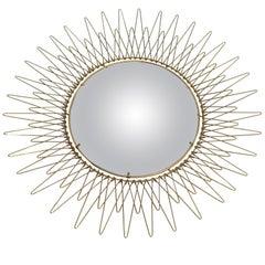 Vintage Bohemian Golden Sunburst Mirror, 1960s
