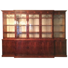 Monumental Custom Made Mahogany Breakfront Bookcase by Mill House Antiques
