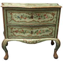 Italian Venetian Style Serpentine Painted Commode