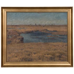 Antique Original Danish Oil on Canvas Landscape Painting