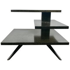 Architectural Falling Water Tiered Cantilevered Cerused Oak Modernist Table