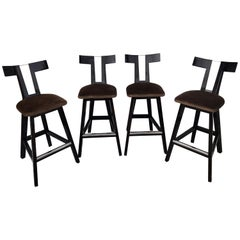 "Four Modern Donghia Style Lacquered ""T"" Back Barstools"