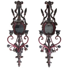 Pair of Red Painted Wood and Iron Candle Wall Sconces