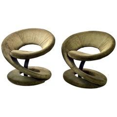 Pair of Postmodern Twist Chairs by Quebec 69 Jaymar Furniture