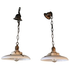 Pair of Curved Milk Glass Industrial Factory Pendant Lights