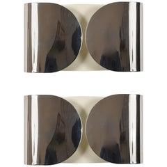 """Applique Sheet """"Foglio"""" of Tobia Scarpa for Flos Italy 1960s, Set of 2, Sconces"""