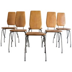 Six Maple and Steel Dining Chairs by Robert Josten