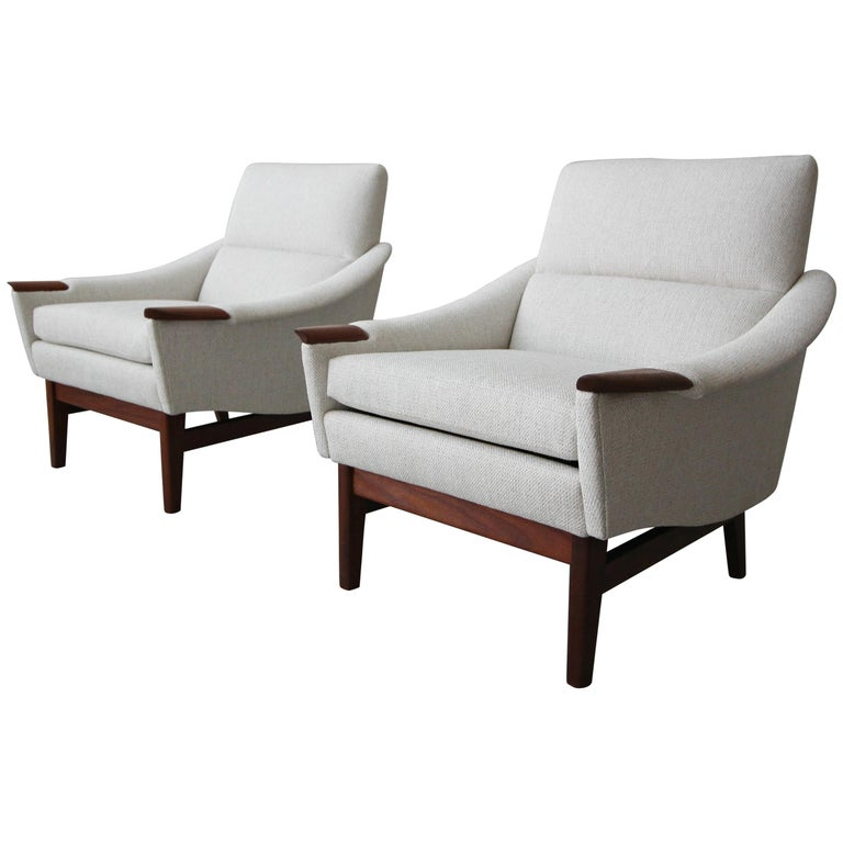 Pair of Midcentury Danish Style Lounge Chairs