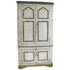 Large George III Original Painted Pine Floor Standing Corner Cupboard