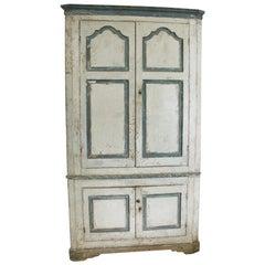 Large George III Original Painted Pine Floor Standing Corner Cupboard