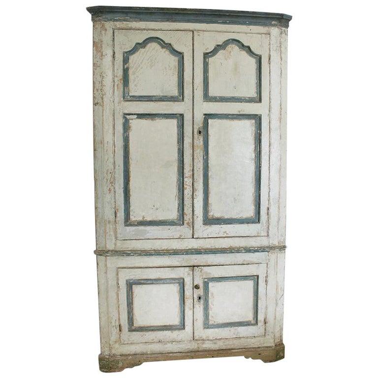Large George III Original Painted Pine Floor Standing Corner Cupboard For Sale
