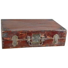 Antique Chinese Lacquered Wood Suitcase Bronze Mounts