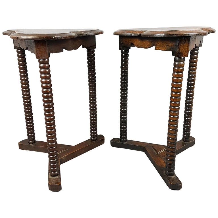 Pair of 1920s Arts and Crafts Style Oak Bobbin Tables For Sale