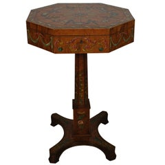 Antique Painted Octagonal Sewing Table
