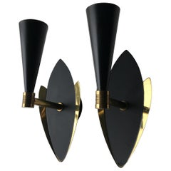 Mid-Century Black Satin and Brass Wall Sconces