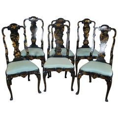 Antique Set of 6 Georgian Lacquer Chairs 'Property of Admiral David Beatty'