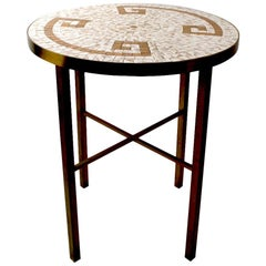 Mosaic Tile Top Table with Brass Legs