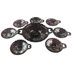 Murano or Venetian Handcrafted Art Glass Dessert Service for 6