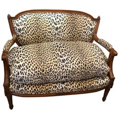 Luxurious Louis XIV Carved Walnut and Faux Leopard Loveseat Settee