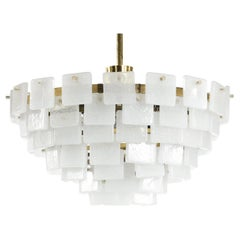 Kalmar Chandelier Square Glass with Bubbles, 1960 Austria