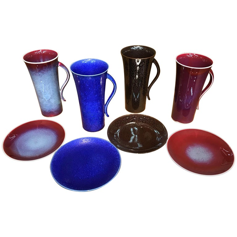 Set of Japanese Tall Hand Glazed Porcelain Mug Cups and Plates by Master Artist For Sale