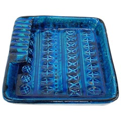 Square Ashtray in Blue Glazed Ceramic Rimini, Bitossi by Aldo Londi, Italy 1960s