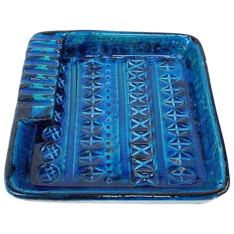 Square Ashtray in Blue Glazed Ceramic Rimini, Bitossi by Aldo Londi, Italy 1960s For Sale