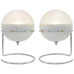 """Pair of """"Focus"""" Table Lamps Designed by Fabio Lenci for Guzzini, Italy 1968"""
