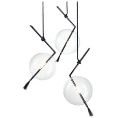 Nuvola Black Three Lights Contemporary Sculptural Minimalist Pendant/ Chandelier