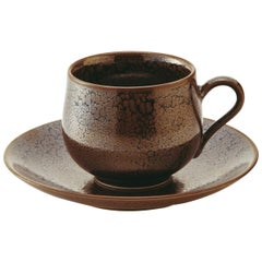 Japanese Hand-Glazed Brown Porcelain Cup and Saucer by Master Artist