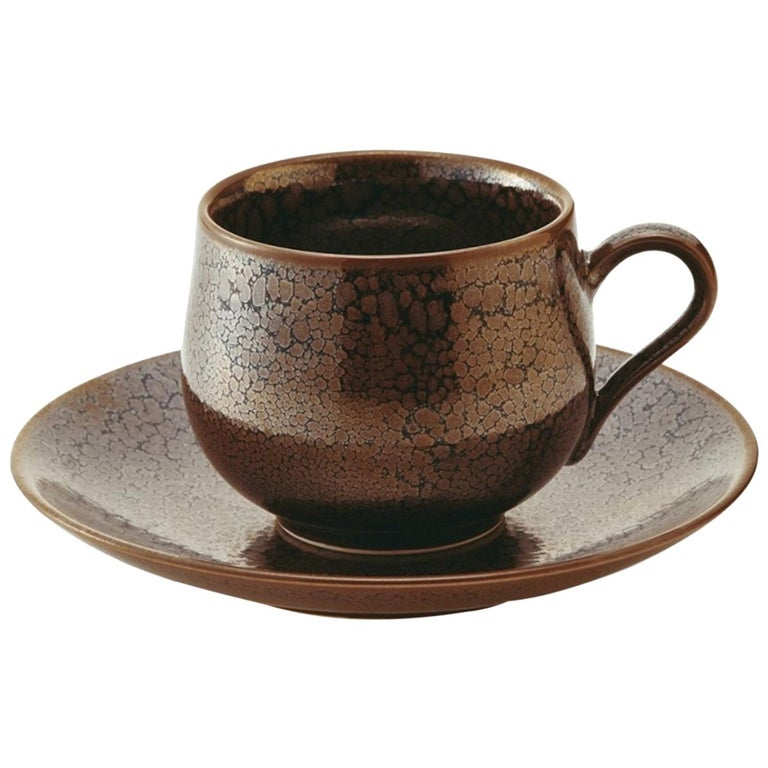 Japanese Hand-Glazed Brown Porcelain Cup and Saucer by Master Artist For Sale