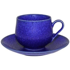 Japanese Hand-Glazed Royal Blue Porcelain Cup and Saucer by Master Artist