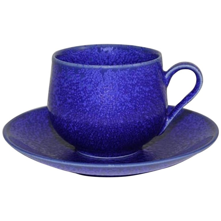 Japanese Hand-Glazed Royal Blue Porcelain Cup and Saucer by Master Artist For Sale