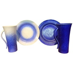 Set of Blue White Hand-Glazed Porcelain Cup, Saucer and Plate, Master Artist