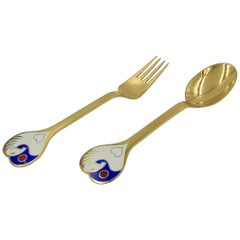 Anton Michelsen Gilded Silver and Enamel Christmas Fork and Spoon Set, 1978