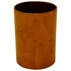 Midcentury Leather Waste Paper Basket circa 1940s