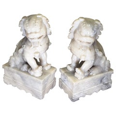 Nice Pair of Chinese Foo Dogs, Carved Soapstone, Early 20th Century