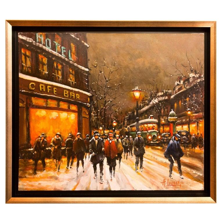 Lourenco Armand Oil on Canvas the Parisian Grand-Boulevards For Sale