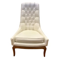 Midcentury Widdicomb Tufted Highback Robsjohn-Gibbings White Quilted Chair