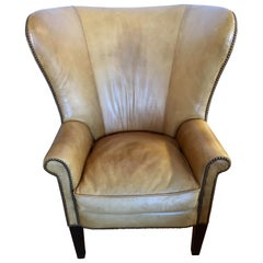Ralph Lauren Signed Large Leather Nailhead Wingback Chair