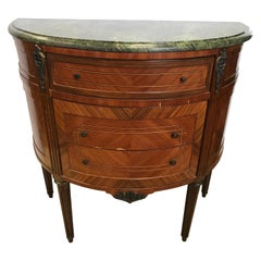 French Louis XVI Demilune Marble-Top Cabinet Chest Three-Drawer Commode