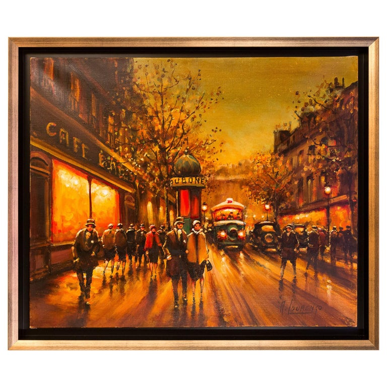 Lourenco Armand Oil on Canvas The Parisian Boulevard des Capucines For Sale