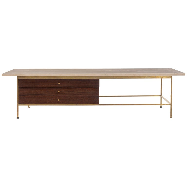Paul McCobb Travertine Coffee Table For Sale