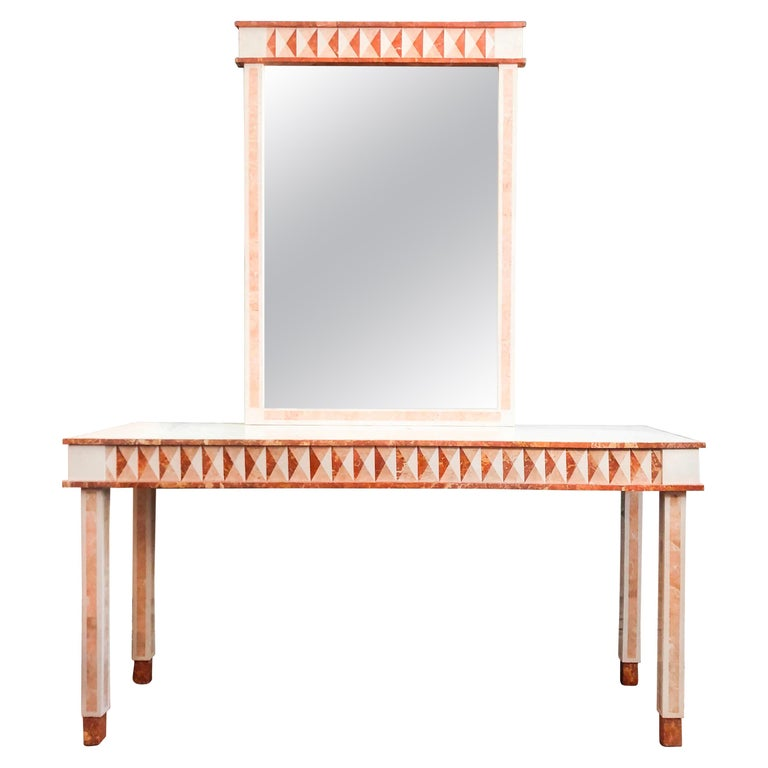 NeoClassical Tessellated Marble Maitland-Smith Console Table & Wall Mirror 1980s