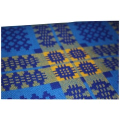 Large Blue and Yellow Welsh Wool Double Woven Blanket