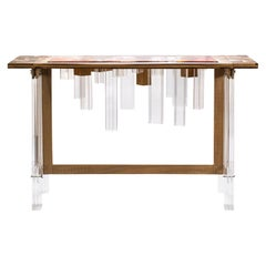 Colored Blooming Skyline Wood and Plexiglass Console